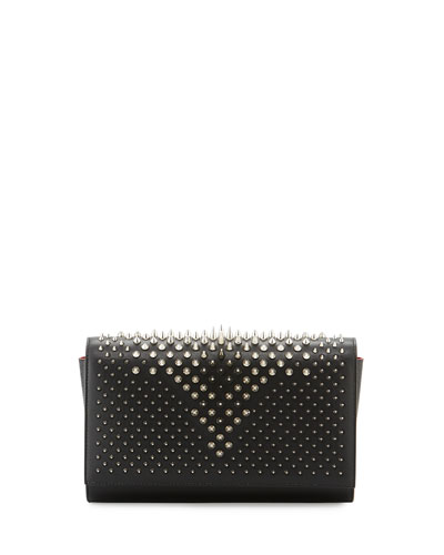 Paloma Fold-Over Spike Clutch Bag, Black/Silver
