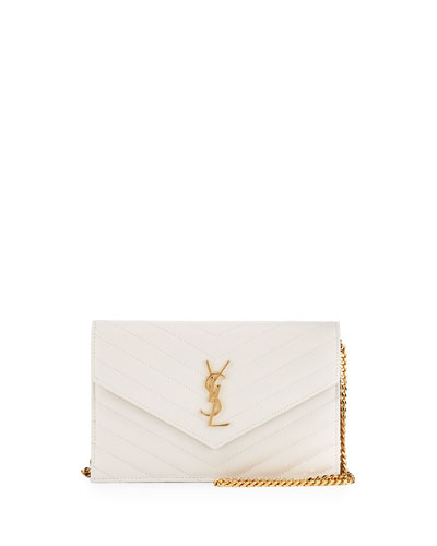 Small V-Flap Monogram Wallet-On-A-Chain, White