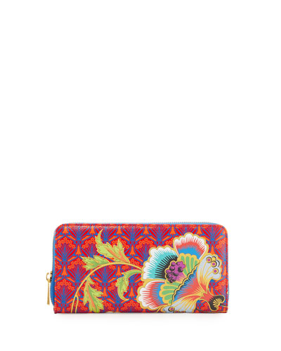 Paradise Long Zip-Around Wallet, Red