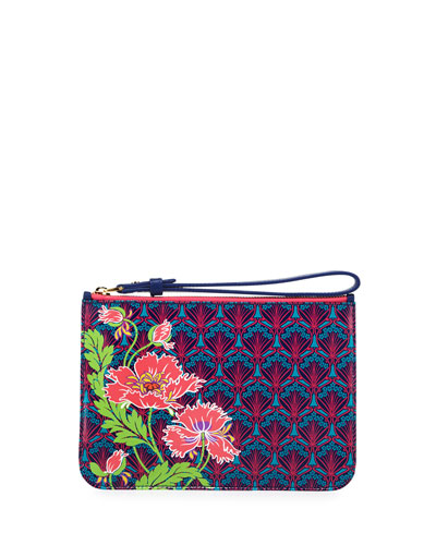 Poppies Zip-Top Wristlet, Navy