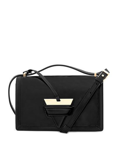 Barcelona Leather Shoulder Bag, Black