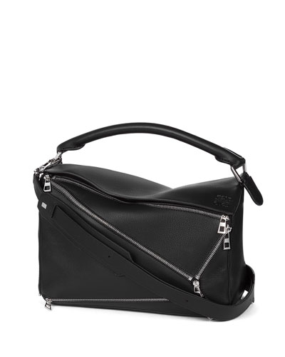 Puzzle Zips Leather Satchel Bag, Black