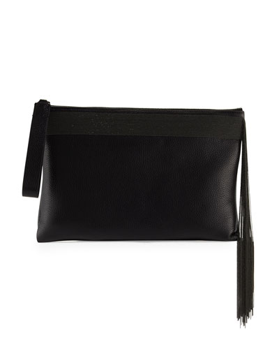 Monili Fringe Wristlet Clutch Bag, Black
