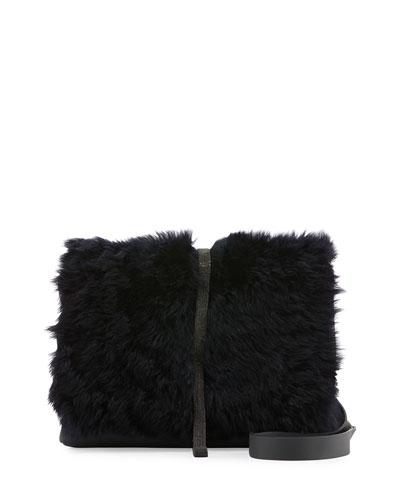 Medium Shearling-Fur Monili City Bag, Dark Navy