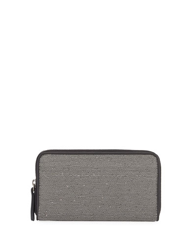 Large Monili Zip-Around Wallet, Black/Silver