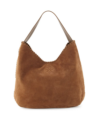 Marion Suede Hobo Bag, River Rock
