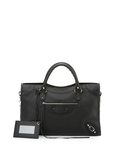 Classic City Calfskin Shoulder Bag, Black