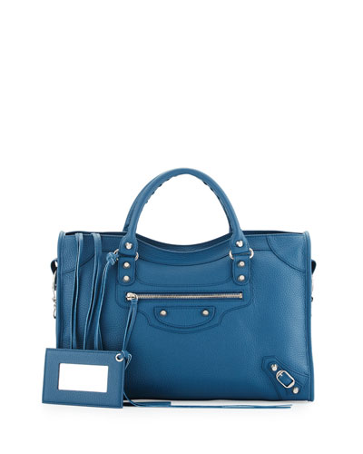 Classic City Calfskin Shoulder Bag, Blue