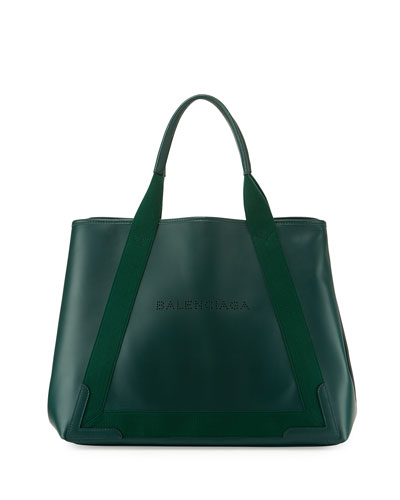 Navy Cabas Medium Leather Tote Bag, Green