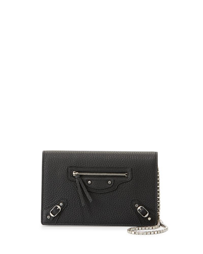 Classic Leather Wallet-on-Chain, Black