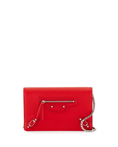 Classic Leather Wallet-on-Chain, Red