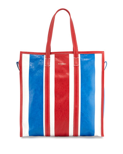 Bazar Medium Striped Leather Shopper Tote Bag, Red/White/Blue