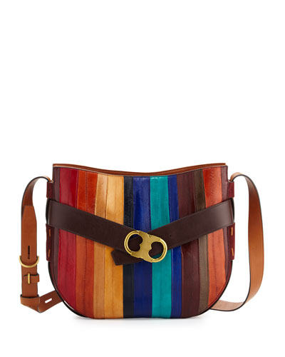 Gemini Link Belted Eel-Stripe Shoulder Bag, Multicolor