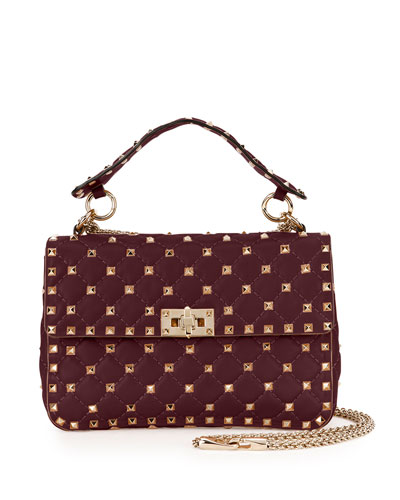 Rockstud Medium Quilted Leather Shoulder Bag, Bordeaux