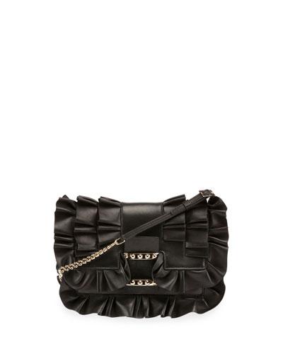 Viv Micro Frilly Leather Shoulder Bag, Black