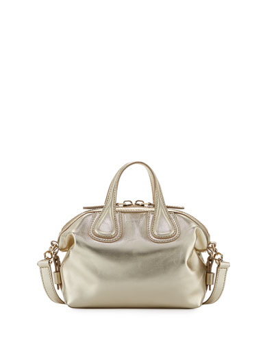 Nightingale Mini Leather Satchel Bag, Gold