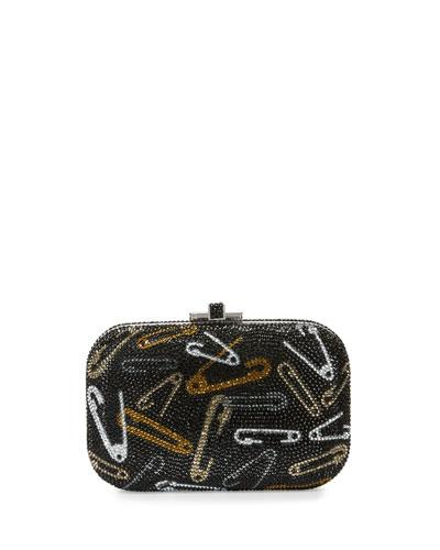 Safety-Pin Crystal Slide Lock Evening Clutch Bag, Jet/Multi