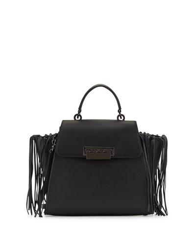 Eartha Iconic Leather Satchel Bag W/Fringe, Black