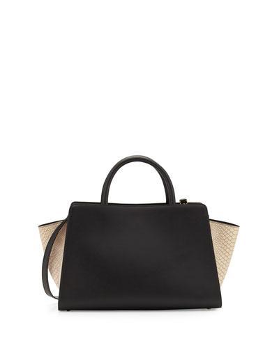 Eartha Iconic East-West Leather Satchel Bag, Black/Ivory