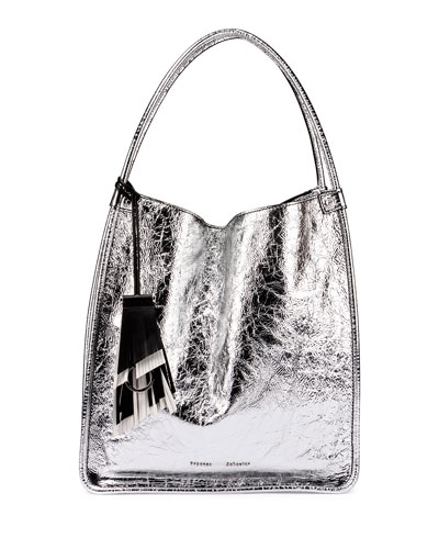 Medium Metallic Leather Tote Bag, Silver