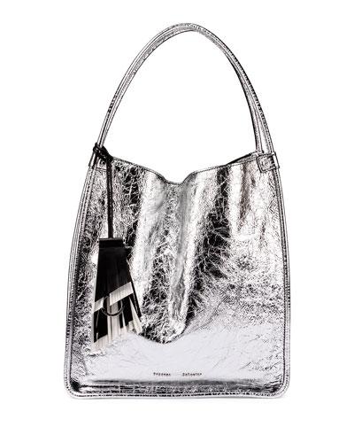 Medium Metallic Leather Tote Bag, Silver
