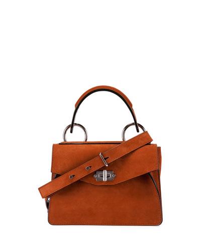 Hava Small Leather Top-Handle Satchel Bag, Mahogany