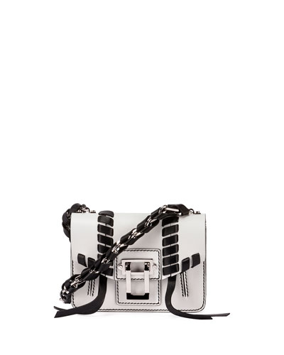 Hava Leather Chain Crossbody Bag, White/Black
