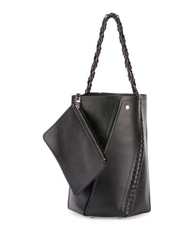 Hex Medium Whipstitch Leather Bucket Bag, Black