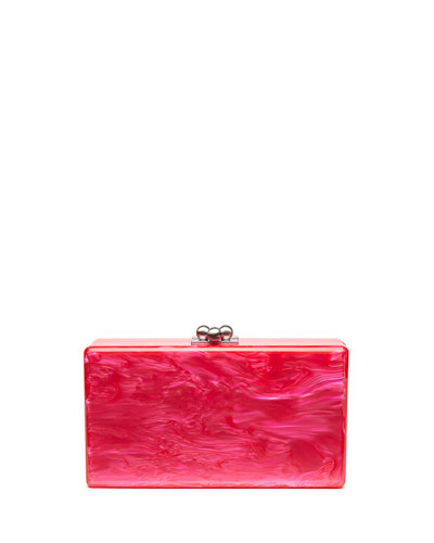 Jean Solid Acrylic Clutch Bag, Hot Pink