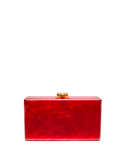 Jean Solid Acrylic Clutch Bag, Red