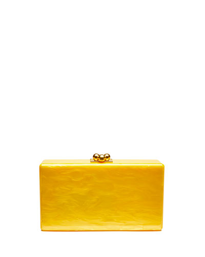 Jean Solid Acrylic Clutch Bag, Yellow
