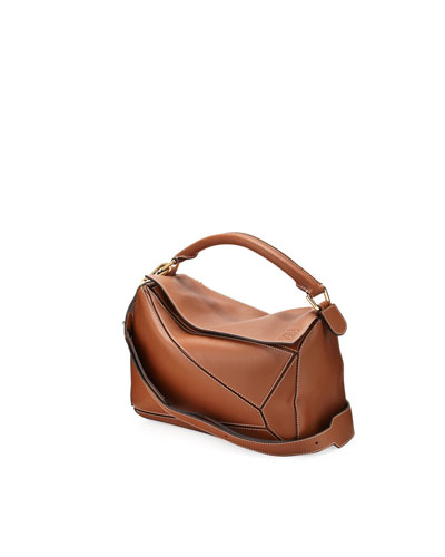 Puzzle Small Leather Satchel Bag, Tan