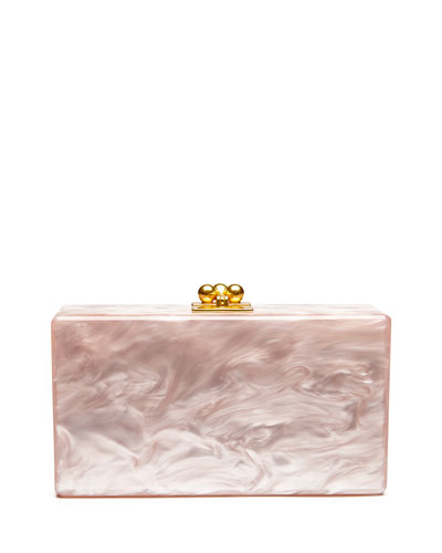 Jean Solid Acrylic Clutch Bag, Rose