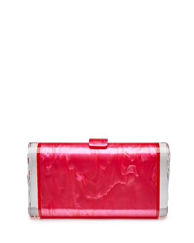 Lara Backlit Acrylic Clutch Bag, Fuchsia