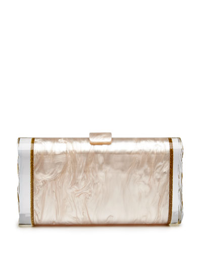 Lara Wings Acrylic Clutch Bag, Nude
