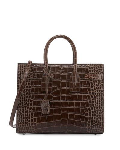 Sac de Jour Small Crocodile-Embossed Satchel Bag, Dark Brown