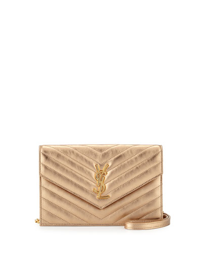Monogram Small Matelassé Envelope Chain Wallet, Light Blush