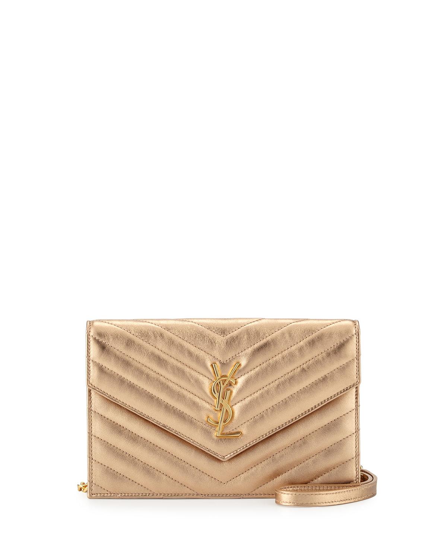 Monogram Small Matelassé Envelope Chain Wallet, Light Blush