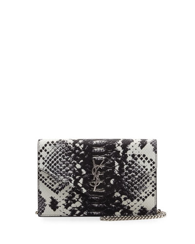 Monogram Leather Small Wallet-On-Chain, Black/White