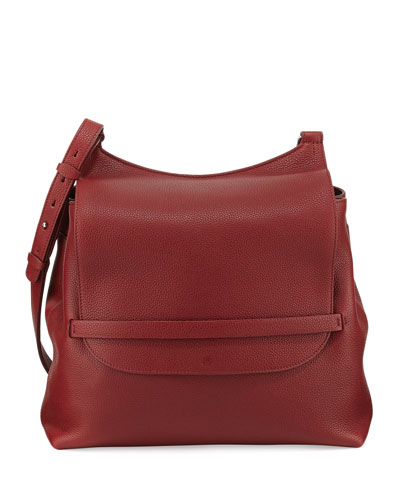 Sideby Calf Crossbody Bag, Brick Red