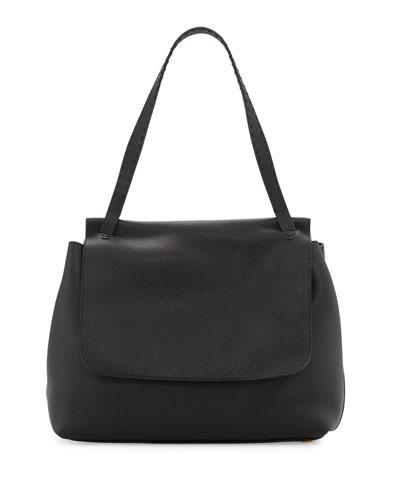 Sidekick Fine-Grain Leather Shoulder Bag, Black