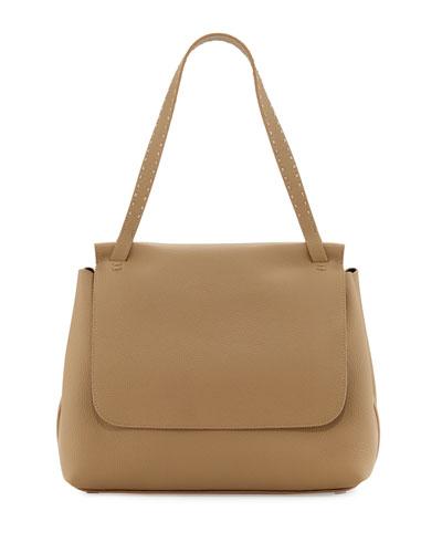 Sidekick Fine-Grain Leather Shoulder Bag, Khaki