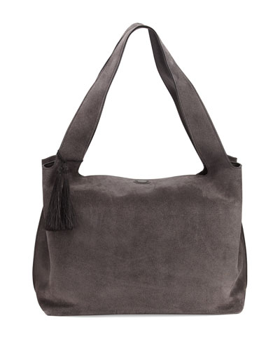 Duplex Suede Satchel Bag, Pewter