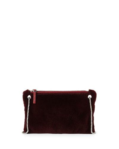 Happy Hour 7 Mink Shoulder Bag, Berry Red