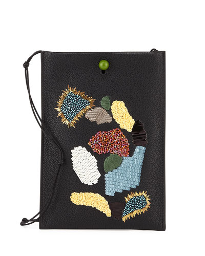 Medicine Small Sequined Leather Pouch Bag, Black/Multi