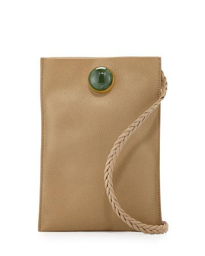 Medicine Small Leather Pouch Bag, Khaki Jade