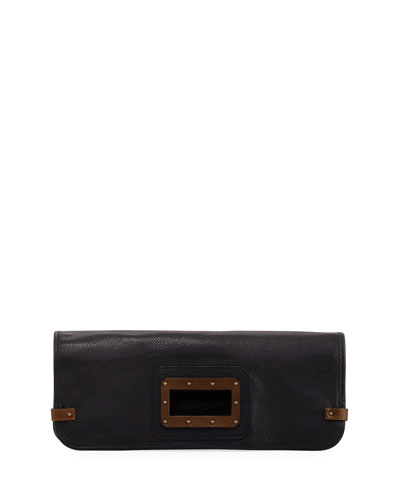 Granada Liquid Leather Clutch Bag, Black