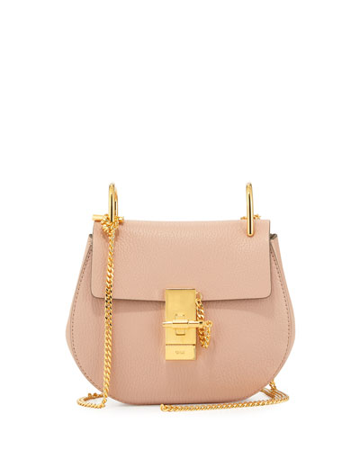 Drew Mini Lambskin Shoulder Bag, Cement Pink