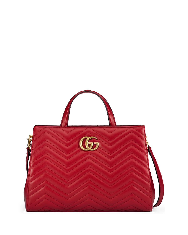 GG Marmont Medium Matelasse Top-Handle Bag, Hibiscus Red