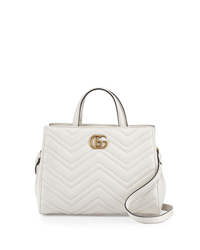 GG Marmont Small Matelassé Top-Handle Bag, White